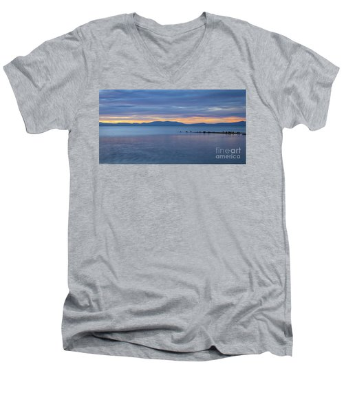 Men's V-Neck T-Shirt featuring the photograph Blue Tahoe Sunset by Mitch Shindelbower
