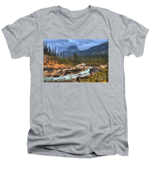 Men's V-Neck T-Shirt featuring the photograph Blue Through The Yoho Valley by Adam Jewell