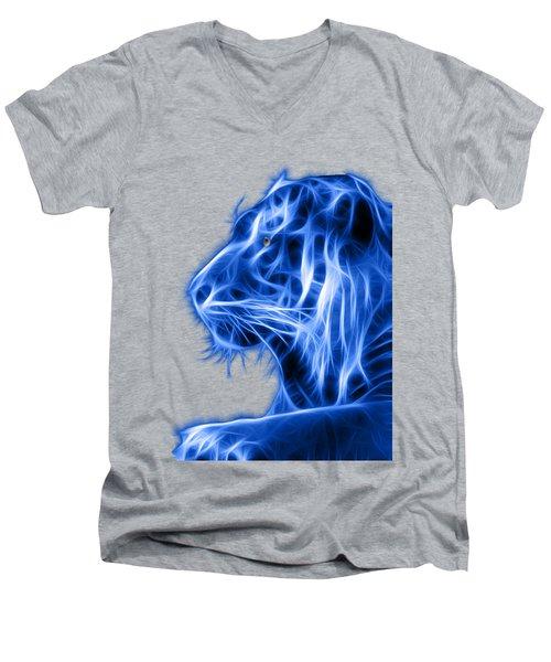 Blue Tiger Men's V-Neck T-Shirt by Shane Bechler