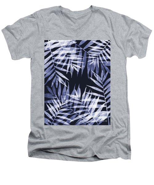 Blue Tropical Leaves Men's V-Neck T-Shirt