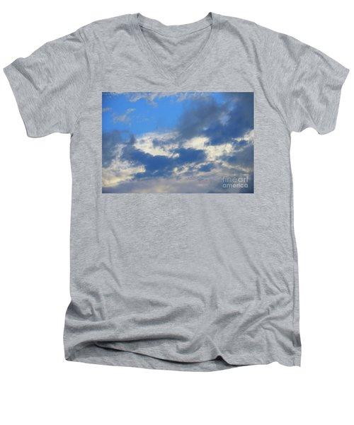 Blue Two Men's V-Neck T-Shirt