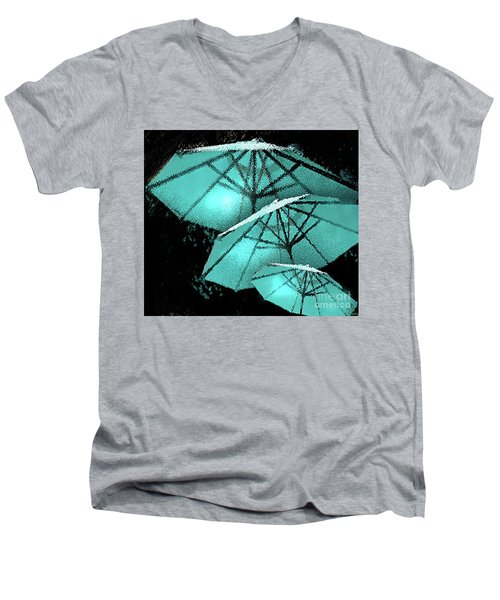 Blue Umbrella Splash Men's V-Neck T-Shirt by Deborah Nakano
