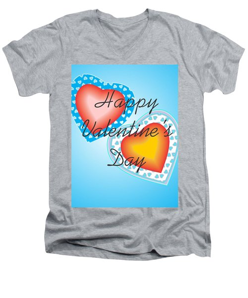 Men's V-Neck T-Shirt featuring the digital art Blue Valentine Lace  by Sherril Porter