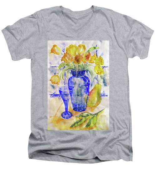 Men's V-Neck T-Shirt featuring the painting Blue Vase by Jasna Dragun