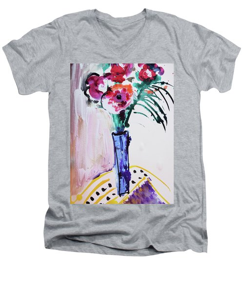 Blue Vase With Red Wild Flowers Men's V-Neck T-Shirt