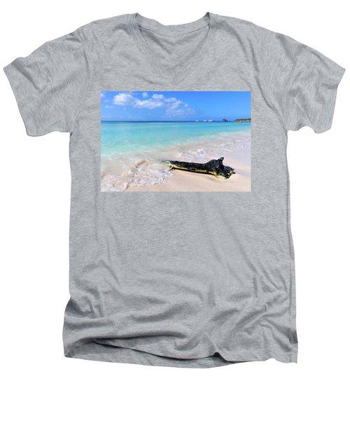 Blue Water And White Sand Men's V-Neck T-Shirt