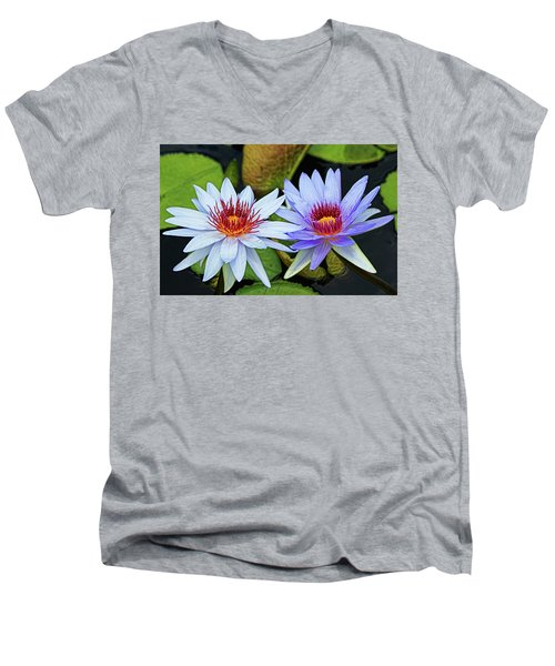 Men's V-Neck T-Shirt featuring the photograph Blue Water Lilies by Judy Vincent