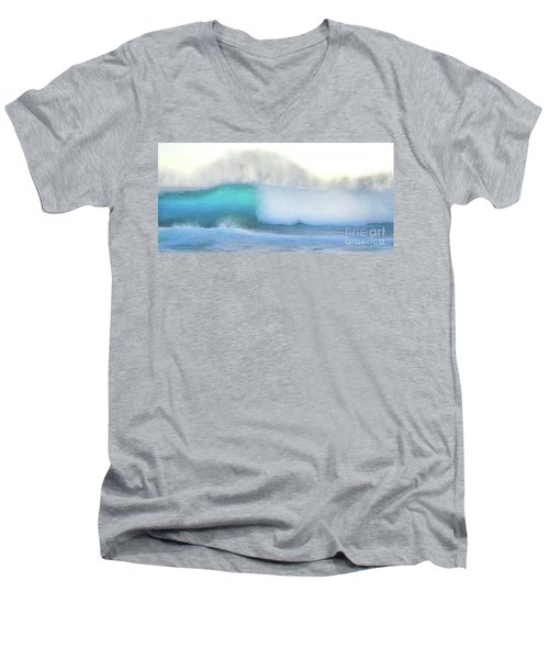 Men's V-Neck T-Shirt featuring the photograph Blue Wave by Kristine Merc