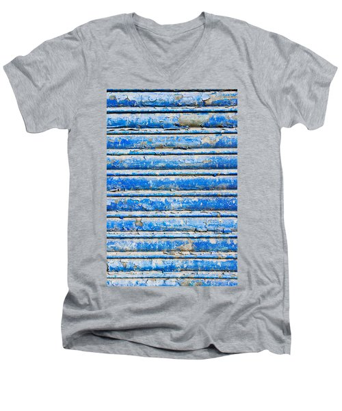 Blue Weathered Metal  Men's V-Neck T-Shirt