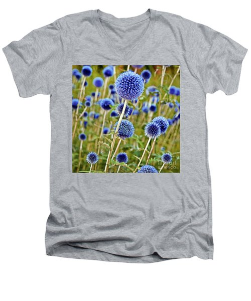 Blue Wild Thistle Men's V-Neck T-Shirt