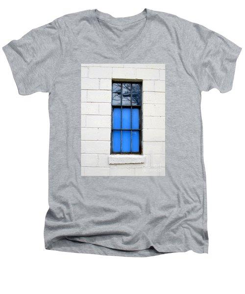 Blue Window Panes Men's V-Neck T-Shirt by Sandra Church