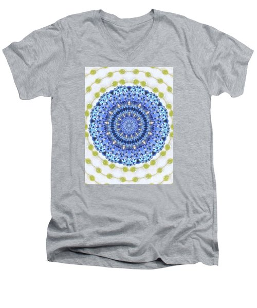 Blue With Green Dots Men's V-Neck T-Shirt by Shirley Moravec