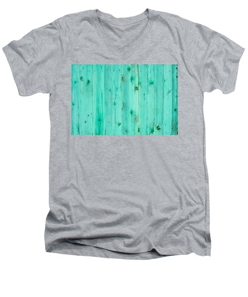 Men's V-Neck T-Shirt featuring the photograph Blue Wooden Planks by John Williams