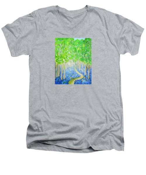 Bluebell Wood With Butterflies Men's V-Neck T-Shirt