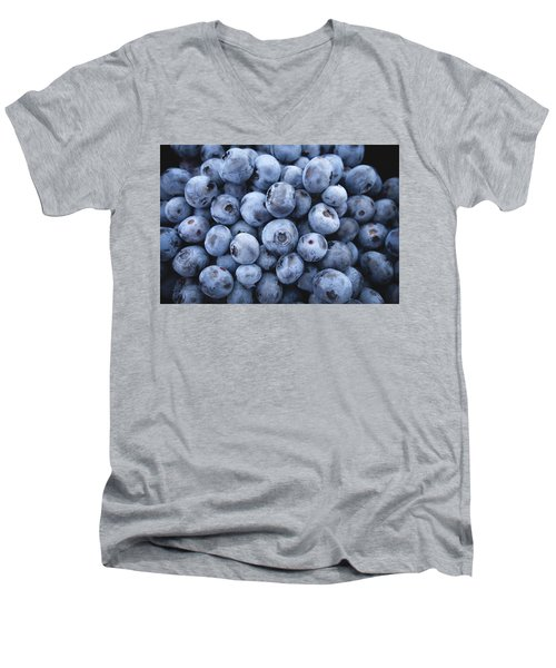 Blueberries Men's V-Neck T-Shirt by Happy Home Artistry