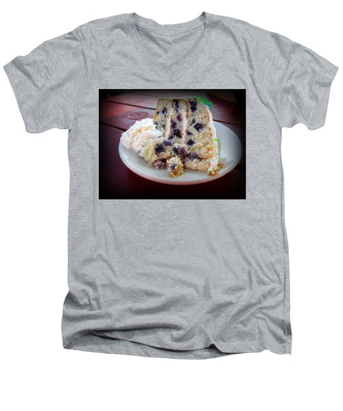 Blueberry Cake With Lemon Icing Men's V-Neck T-Shirt