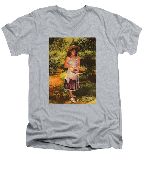 Men's V-Neck T-Shirt featuring the painting Blueberry Girl by Elizabeth Carr