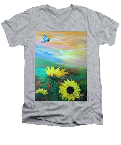 Bluebird Flying Over Sunflowers Men's V-Neck T-Shirt by Robin Maria Pedrero