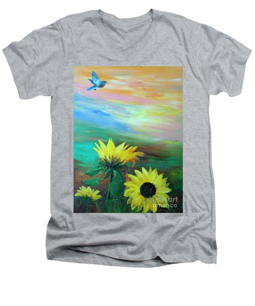 Bluebird Flying Over Sunflowers Men's V-Neck T-Shirt