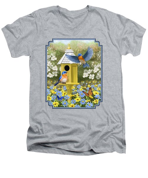 Bluebird Garden Home Men's V-Neck T-Shirt by Crista Forest