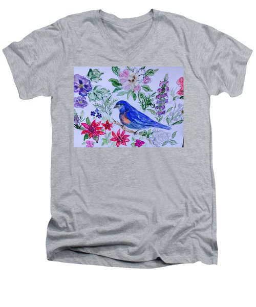 Bluebird In A Garden Men's V-Neck T-Shirt