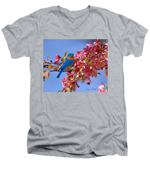 Bluebird In Apple Blossoms Men's V-Neck T-Shirt by Marie Hicks