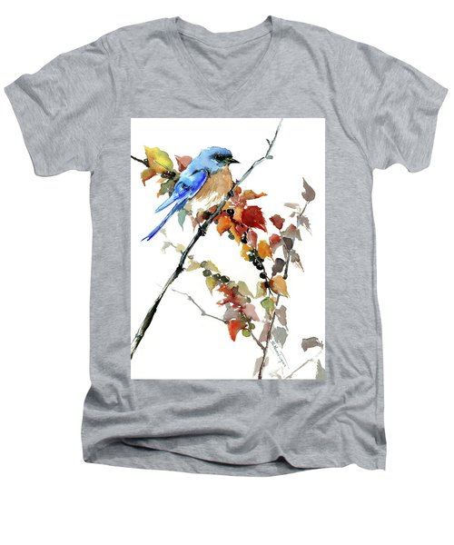 Bluebird In The Fall Men's V-Neck T-Shirt
