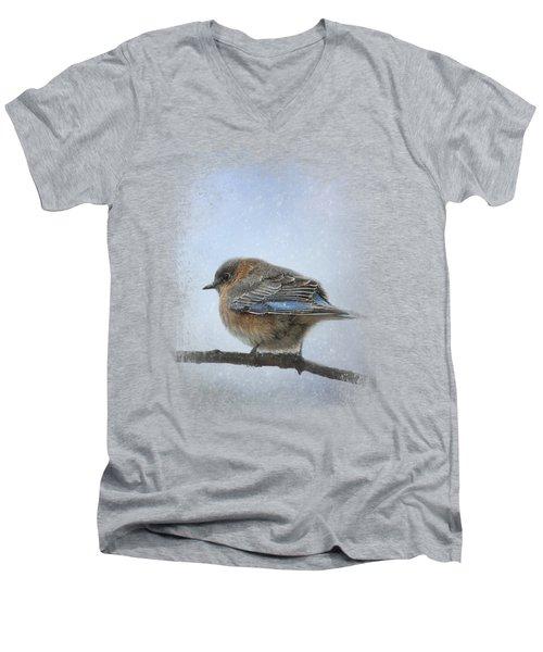 Bluebird In The Snow Men's V-Neck T-Shirt by Jai Johnson