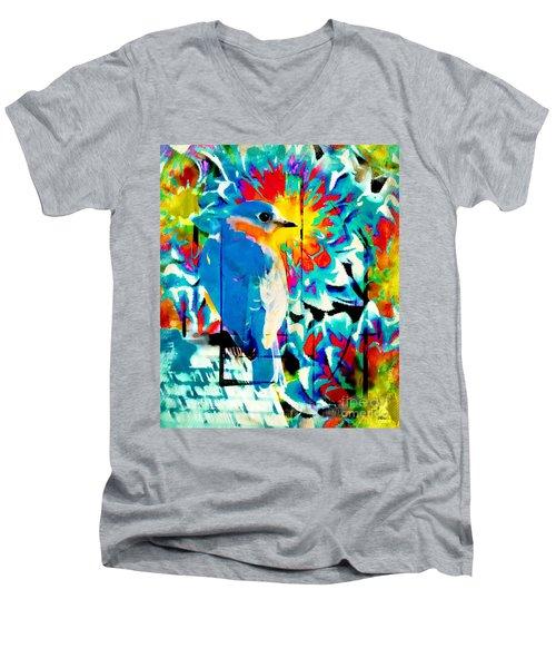 Bluebird Pop Art Men's V-Neck T-Shirt by Tina LeCour