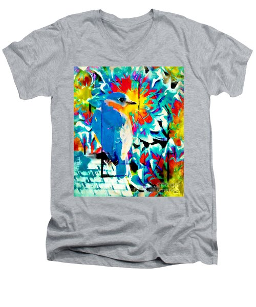 Bluebird Pop Art Men's V-Neck T-Shirt