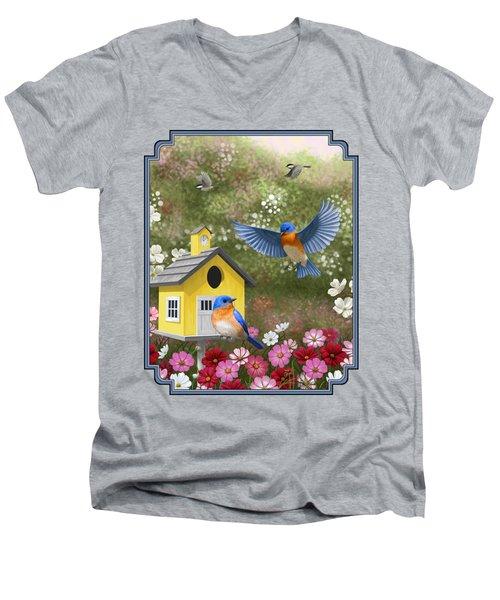 Bluebirds And Yellow Birdhouse Men's V-Neck T-Shirt