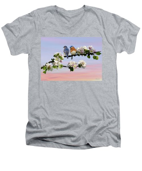 Bluebirds In Apple Tree Men's V-Neck T-Shirt