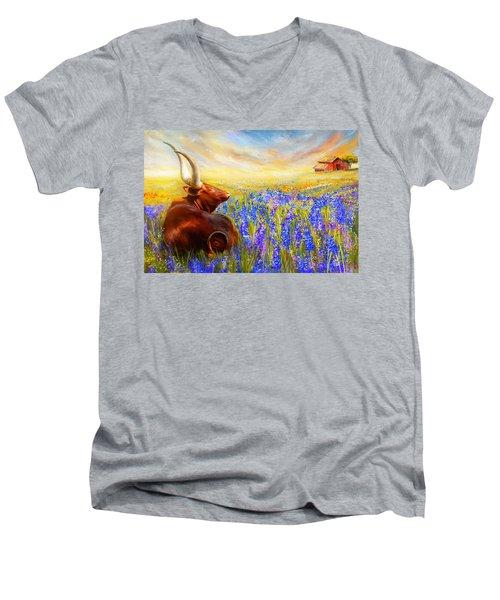 Bluebonnet Dream - Bluebonnet Paintings Men's V-Neck T-Shirt