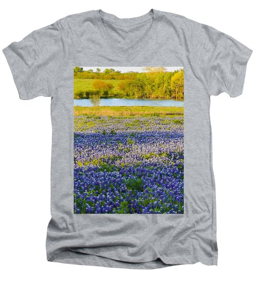Bluebonnet Field Men's V-Neck T-Shirt by Debbie Karnes