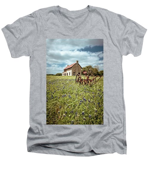 Men's V-Neck T-Shirt featuring the photograph Bluebonnet Fields by Linda Unger