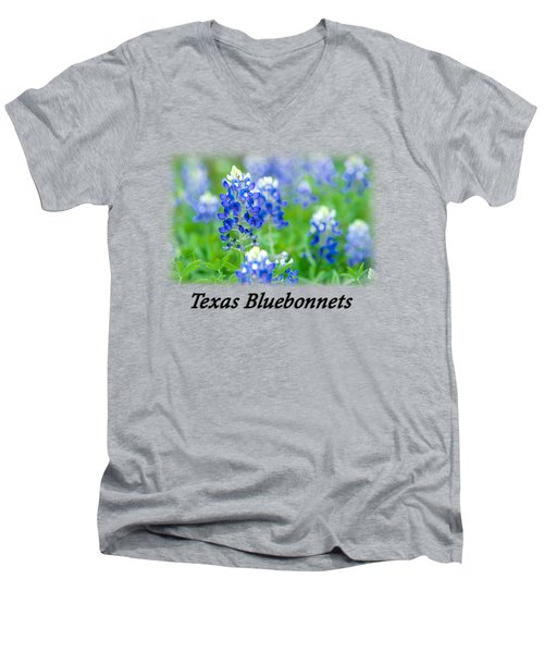 Bluebonnet With Font T-shirt Men's V-Neck T-Shirt