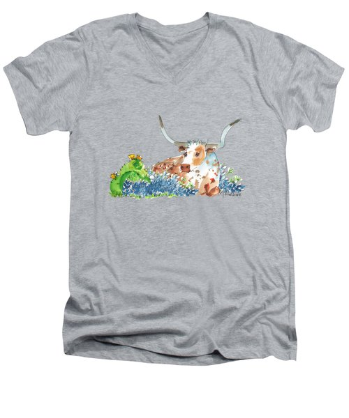 Bluebonnets Cactus And Bessie Men's V-Neck T-Shirt