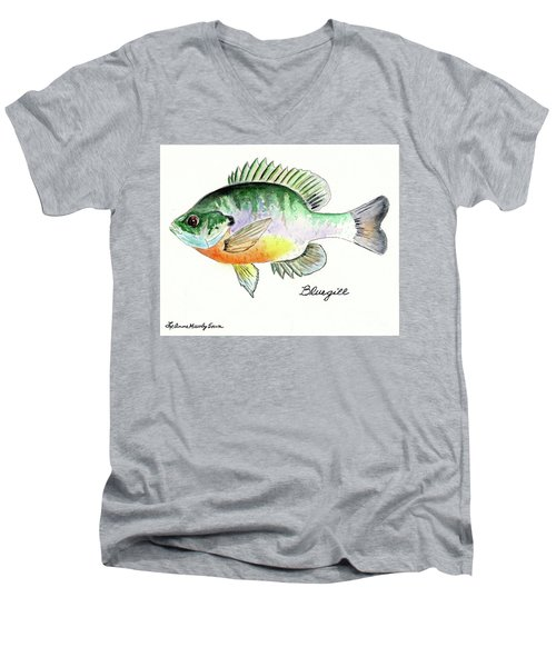 Men's V-Neck T-Shirt featuring the painting Bluegill Fish by LeAnne Sowa