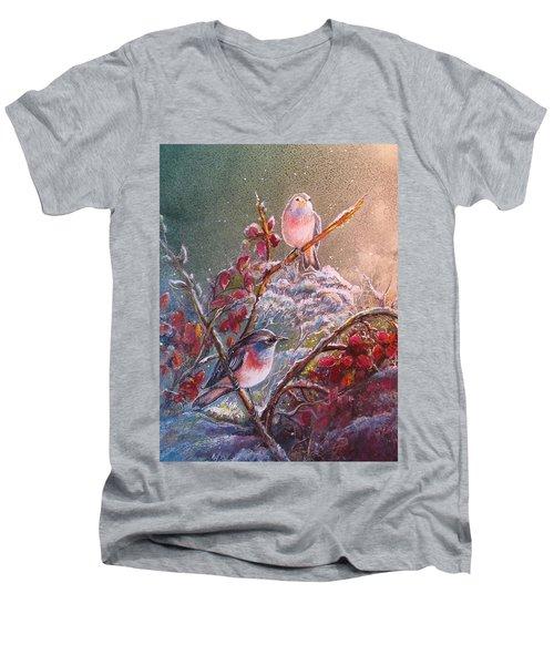 Bluethroat On The Tundra/ #3 Men's V-Neck T-Shirt