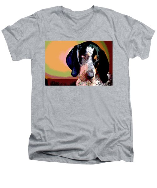Bluetick Coonhound Men's V-Neck T-Shirt by Charles Shoup