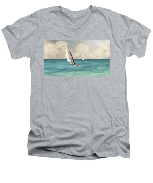 Bluewater Cruising Sailboats Men's V-Neck T-Shirt