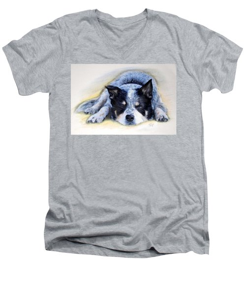 Men's V-Neck T-Shirt featuring the painting Bluey by Ryn Shell