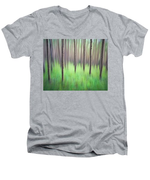 Blurred Aspen Trees Men's V-Neck T-Shirt