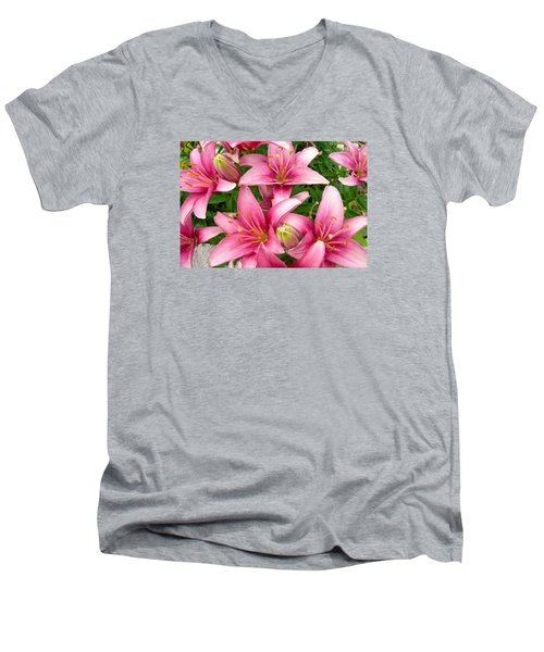 Men's V-Neck T-Shirt featuring the photograph Blush Of The Blossoms by Randy Rosenberger