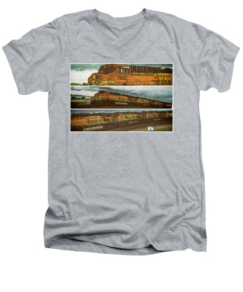 Bnsf 7682 Triptych  Men's V-Neck T-Shirt by Bartz Johnson