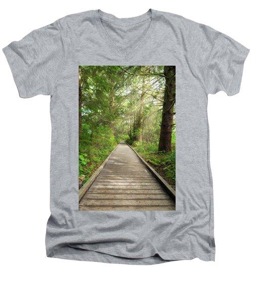 Boardwalk Along Hiking Trail At Fort Clatsop Men's V-Neck T-Shirt