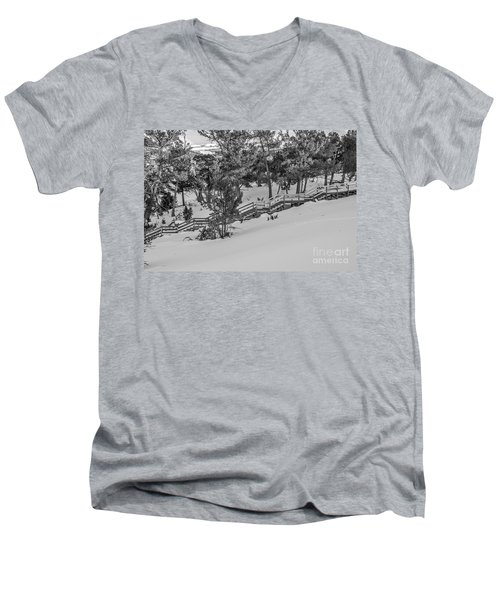 Men's V-Neck T-Shirt featuring the photograph Boardwalk Climbing A Hill by Sue Smith