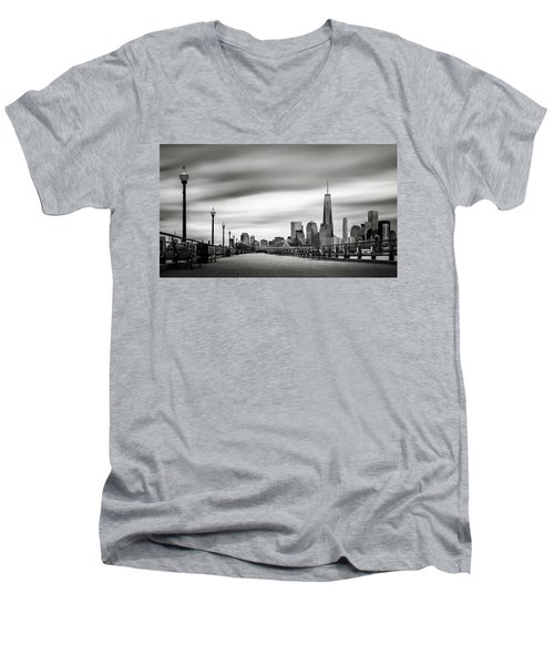 Boardwalk Into The City Men's V-Neck T-Shirt by Eduard Moldoveanu