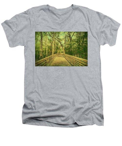 Men's V-Neck T-Shirt featuring the photograph Boardwalk by Lewis Mann