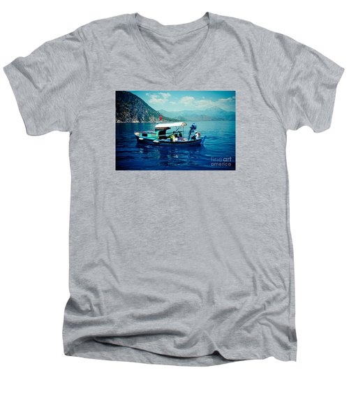 Boat And Sapfir Sea Seascape Artmif Men's V-Neck T-Shirt